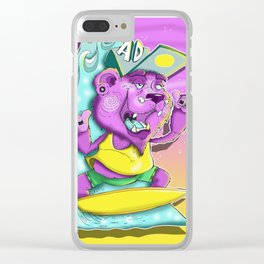 Surfing Bear Clear iPhone Case
