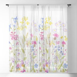 botanical colorful wildflower garden watercolor painting horizontal Sheer Curtain