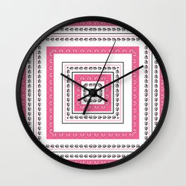 White - pink pattern Wall Clock