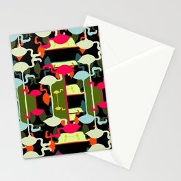Flamingos abstract Stationery Cards
