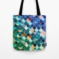 tiffany Tote Bags featuring REALLY MERMAID TIFFANY by Monika Strigel
