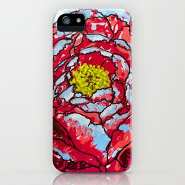 Aqua Blasted Peony iPhone Case