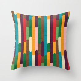Retro Color Block Popsicle Sticks Throw Pillow
