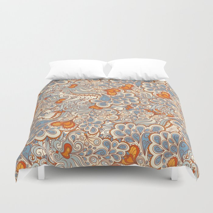 Orange And Blue Pattern Duvet Cover By Melazerg Society6