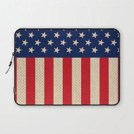 USA faux burlap flag Laptop Sleeve