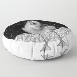 Seagull on a Starry Night Floor Pillow