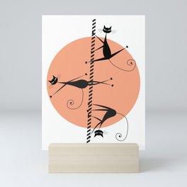 Pole dancing cats Mini Art Print