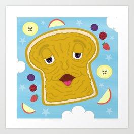 Cute Peanut Butter Bread Kid's Children's Cartoon Art Print