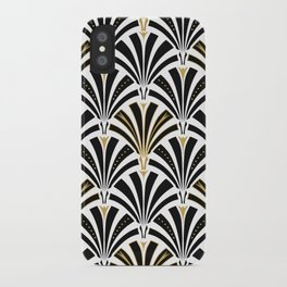 Art Deco Fan Pattern, Black and White iPhone Case
