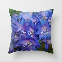 Sky blue Delphinium Flowers Throw Pillow