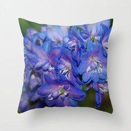 Sky blue Delphinium Flowers Throw Pillow
