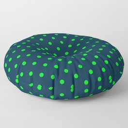 Navy and Neon Lime Green Polka Dots Floor Pillow