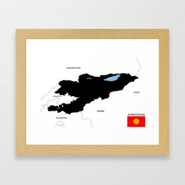 political map of kyrgyzstan country with flag Framed Art Print