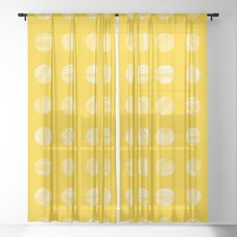 Scratched Little Dots (Yellow) Sheer Curtain