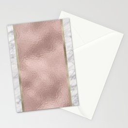 Carrara marble - rose gold stripe Stationery Cards