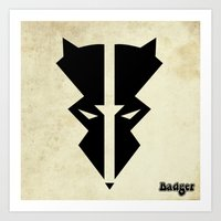 badger Art Prints featuring Badger by Shane Jones