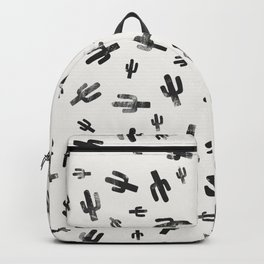Black and White Lino Print Cactus Pattern Backpack