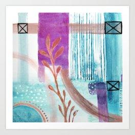 Mint Sky and Leaves Art Print