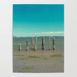 Washington Coast Willapa Bay Pilings Pier Nautical Water Ocean Beach Northwest Landscape Fishing Poster