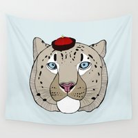 snow leopard Wall Tapestries featuring Asian Snow Leopard by Diana Hope
