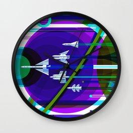 NASA Space Saturn Shuttle Retro Futuristic Explorer Blue Wall Clock