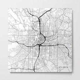 Atlanta Map, USA - Black and White Metal Print