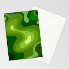 Multi Color Green Liquid Abstract Design Stationery Cards