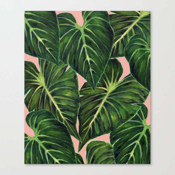 Tropical II Coral Canvas Print