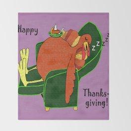 Sleeping Turkey with Pumpkin Pie Throw Blanket