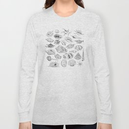 collection of sea shells, black contour on white background Long Sleeve T-shirt