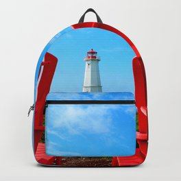 Lighthouse and chairs in Red White and Blue Backpack
