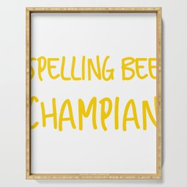 Spelling Bee Champian Ironic Funny Misspelled Champion  design Serving Tray