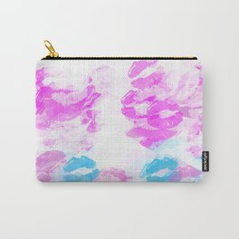 kisses lipstick pattern abstract background in pink and blue Carry-All Pouch