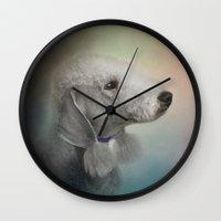 terrier Wall Clocks featuring Bedlington Terrier by Jai Johnson