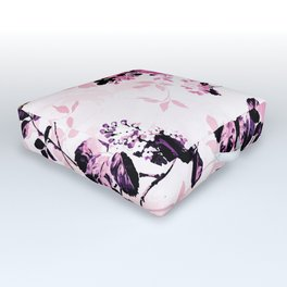 Modern blush pink black watercolor country floral Outdoor Floor Cushion
