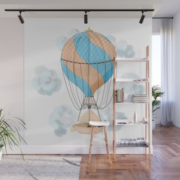 The dreamer: floating away on a vintage hot air balloon Wall Mural