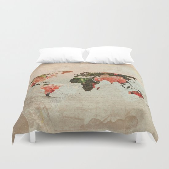 Vintage World Map Duvet Cover By Mj Designs Maros 233 E