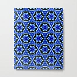 Christmas Snowflake Stars Blue Fractal Tile Pattern Metal Print