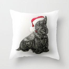 Santa Scottie Dog Throw Pillow