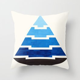 Blue Watercolor Ombre Geometric Aztec Triangle Pyramid Pattern Minimalist Mid Century Design Throw Pillow