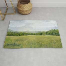 Vermont Landscape Mountain Fields Trees Pastures Oil Painting Rug