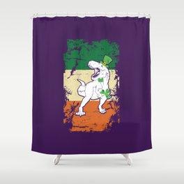 Distressed Irish Flag St Patrick Dinosaur Purple Shower Curtain