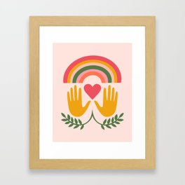 Rainbow Heart Hands Framed Art Print
