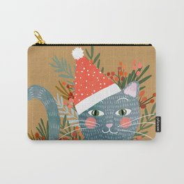 Blue Cat cute christmas xmas tree holiday funny cat art cat lady gift unique pet gifts Carry-All Pouch