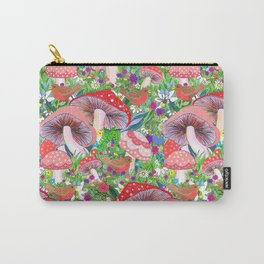 Swedish Toadstool Woodland Robins Floral Carry-All Pouch