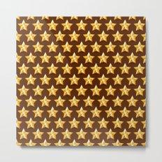 Christmas Gold Stars on Brown Background Metal Print