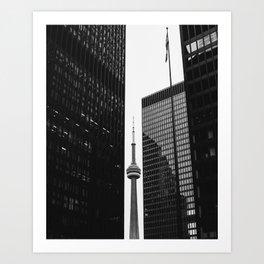 CN Tower Between Buildings Art Print