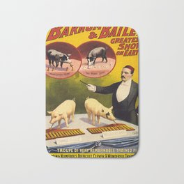 Vintage poster - Trained pigs Bath Mat