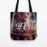 coca cola Tote Bags featuring The Real.... by LesImagesdeJon