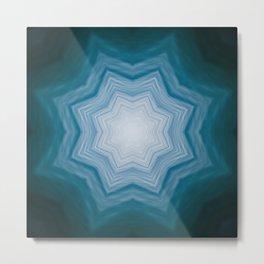 Healing waters Print, home Meditation art Positive Energy element ocean, Mandala style blue water Metal Print